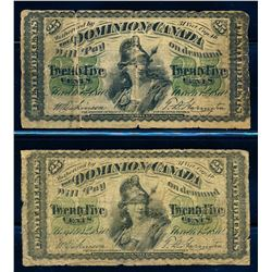 DOMINION OF CANADA 1870 25 Cents Large B & -1c, DC-1b. Graded: VG & G.