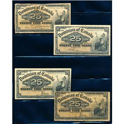 DOMINION OF CANADA 1900 25 Cents. Lot of 4 Banknotes, DC-15. graded: VG-VF