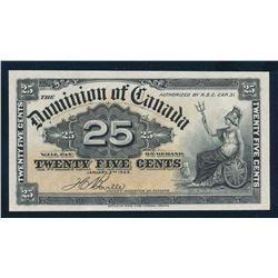 DOMINION OF CANADA 1900 25 Cents Boville Banknote, DC-15b. GUNC-65, Perfect.