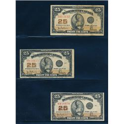 DOMINION OF CANADA 1923 25 Cents. Lot of 3 Banknotes, DC-24a. Authorized in Fine-VF