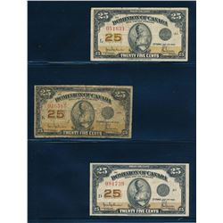 DOMINION OF CANADA 1923 25 Cents Hyndman-Saunders. Lot of 3 notes, DC-24b. VG-VF