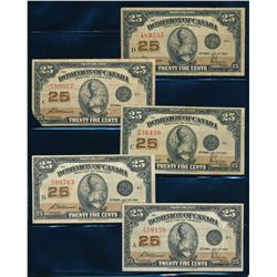 DOMINION OF CANADA 1923 25 Cents McCavour-Saunders. Lot of 5 notes, DC-24c. VG-VF