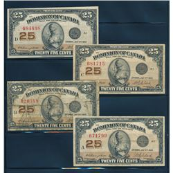 DOMINION OF CANADA 1923 25 Cents Campbell-Clark. Lot of 4 notes, DC-24d. VG-VF