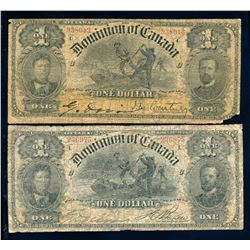 DOMINION OF CANADA 1898 $1.00. DC-13a & c. Graded: G & VG