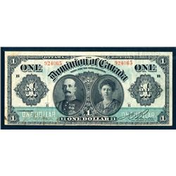 DOMINION OF CANADA 1911 $1.00 DC-18a Very Fine-25 Letter Either Side of Portrait