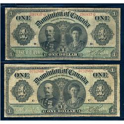 DOMINION OF CANADA 1911 $1.00. A Pair of Low Grade Banknotes. VG+