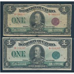 DOMINION OF CANADA 1923 $1.00 McCarvour-Saunders. Lot of 2 Pieces. DC-25.