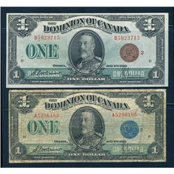 DOMINION OF CANADA 1923 $1.00 McCarvour-Saunders. Lot of 2 Pieces. DC-25