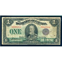 DOMINION OF CANADA 1923 $1.00 DC-25k Very Good 10 Group 1 Experimental, Purple