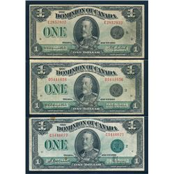 DOMINION OF CANADA 1923 $1.00. Lot of 3 Mixed Signatures, DC-25. Graded: F-VF