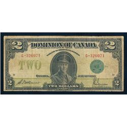 DOMINION OF CANADA 1923 $2.00 McCarvour-Saunders. DC-26d. Graded: VG / Fine