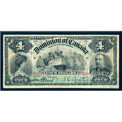 DOMINION OF CANADA 1902 $4.00 DC-17a Choice Fine Number 4 at Top L & R