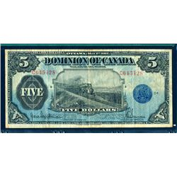 DOMINION OF CANADA 1912 $5.00 DC-21g Very Fine-25 Seal Only Series C