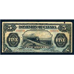 DOMINION OF CANADA 1912 $5.00 DC-21b VG