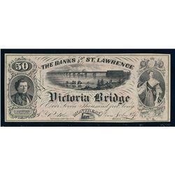 THE BANKS OF THE ST.LAWRENCE 1857 Advertising Banknote. GUnc.