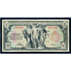 CANADIAN BANK OF COMMERCE 1935 $5.00, 75-18-02, Aird-Logan. Very Fine