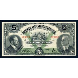 BANK OF MONTREAL 1914 $5.00, 505-54-04 Extra Fine