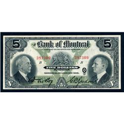 BANK OF MONTREAL 1931 $5.00, 505-58-02 Very Fine+