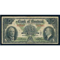 BANK OF MONTREAL 1938 $5.00, 505-62-02, Dodds-Gordon. Graded: Fine