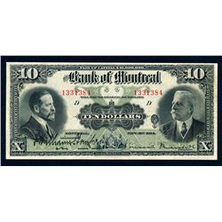 BANK OF MONTREAL 1914 $10.00, 505-54-08 Extra Fine
