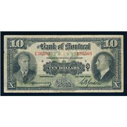 BANK OF MONTREAL 1938 $10.00, 505-62-04, Spinney-Gordon. Graded: Fine