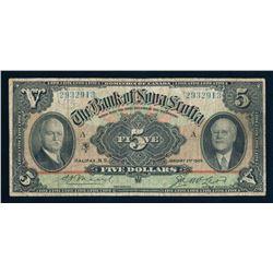 BANK OF NOVA SCOTIA 1929 $5.00, 550-34-02, Moore-McLeod. Graded: Fine