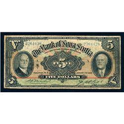 BANK OF NOVA SCOTIA 1929 $5.00, 550-34-02 Very Good
