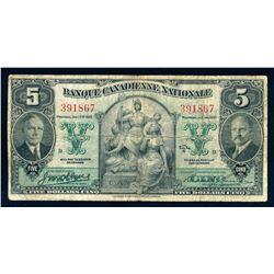 BANQUE CANADIENNE NATIONALE 1935 $5.00. 85-14-02. Wilson-Leman. Graded: Fine