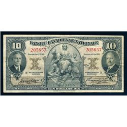 BANQUE CANADIENNE NATIONALE 1935 $10.00. 85-14-04. Wilson-Leman. Graded: VF