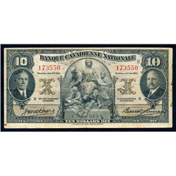 BANQUE CANADIENNE NATIONALE 1935 $10.00. 85-14-04. Wilson-Leman. Graded VF