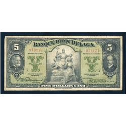 BANQUE D'HOCHELAGA 1917 $5.00. 360-24-02, Vaillancourt-Leman. Graded: Fine