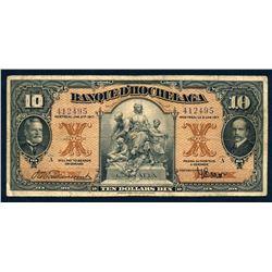 BANQUE D'HOCHELAGA 1917 $10.00 360-24-08 Fine