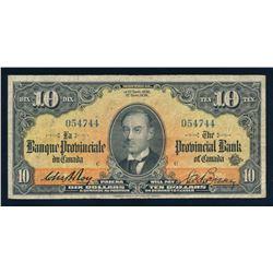 LA BANQUE PROVINCIALE DU CANADA 1936 $10.00, 615-18-06, Roy-Boyer. Graded: Fine+