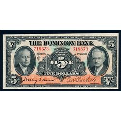 THE DOMINION BANK 1935 $5.00 220-26-02 Extra Fine