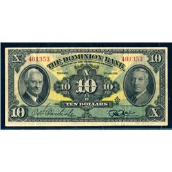 THE DOMINION BANK 1938 $10.00 220-28-04 Very Fine