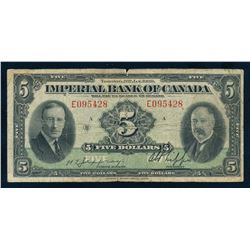 IMPERIAL BANK OF CANADA 1939 $5.00. 375-24-02, Jaffray-Phipps. Graded: VG-Fine