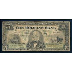 THE MOLSONS BANK 1912 $5.00. 490-32-02, Macpherson-Various. Graded: Very Good