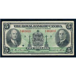 THE ROYAL BANK OF CANADA 1935 $5.00. 630-18-02a, Dobson-Wilson. Graded: VF