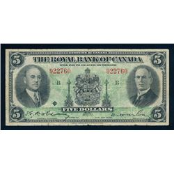 THE ROYAL BANK OF CANADA 1935 $5.00. 630-18-02a, Dobson-Wilson. Graded: Fine