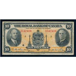 THE ROYAL BANK OF CANADA 1935 $10.00. 630-18-04a. Dobson-Wilson. Graded: VF
