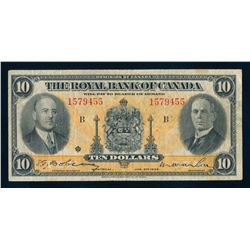 THE ROYAL BANK OF CANADA 1935 $10.00. 630-18-04a. Dobson-Wilson. Graded: Fine