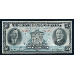 THE ROYAL BANK OF CANADA 1927 $20.00 630-14-12, Wilson-Holt. Graded: VF