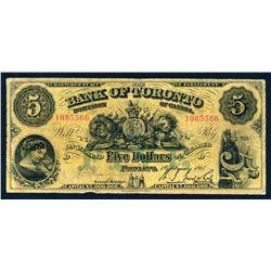 THE BANK OF TORONTO 1917 $5.00 715-22-14 Very Good