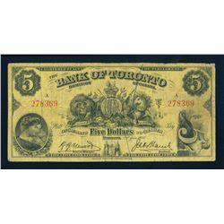 THE BANK OF TORONTO 1937 $5.00. 715-24-04. Henwood-Marsh. Graded: Fine