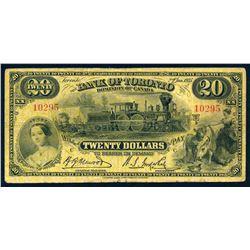 THE BANK OF TORONTO 1935 $20.00 715-24-14 Very Good+