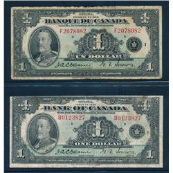 BANK OF CANADA 1935 $1.00 Osbourne-Towers. Lot of 2 Banknotes in Low Grade