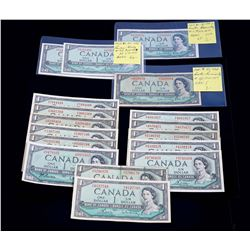 BANK OF CANADA 1954 $1.00. Lot of 17 Notes with Mixed Signatures. BC-37. Good-UNC