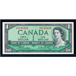 BANK OF CANADA 1954 $1.00, BC-37b1-N2-ii Ascending Ladder Gem UNC-66
