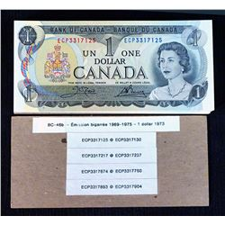 BANK OF CANADA 1973 $1.00, Lot of 126 Grams of BC-46b Crow Bouey in Crisp Unc.