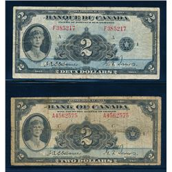 BANK OF CANADA 1935 $2.00 Osbourne-Towers Banknotes. Lot of 2 Notes in Low Grade